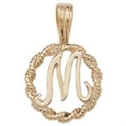 9ct Gold Round rope edged Initial letter M pendant 0.8g